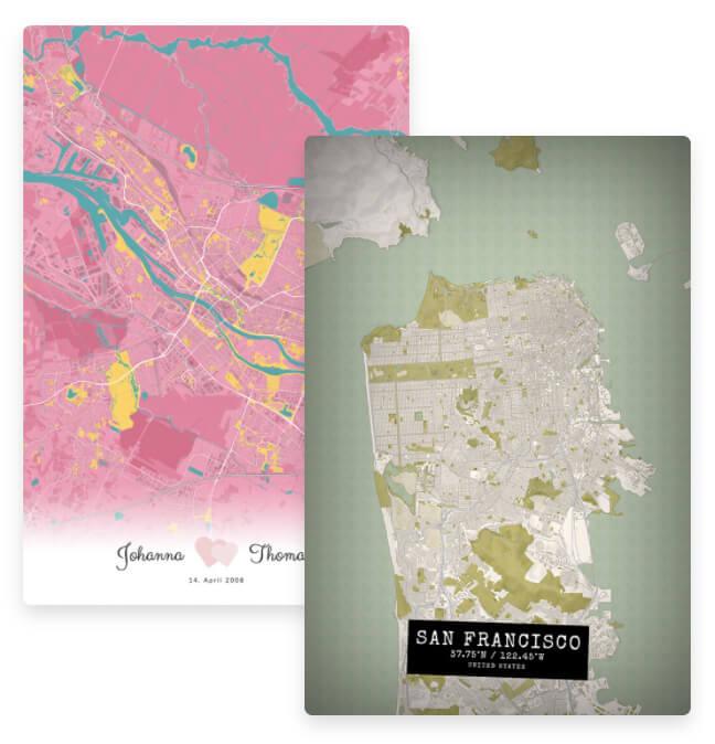 Vintage Stadtplan von San Francisco und Hochzeitserinnerung