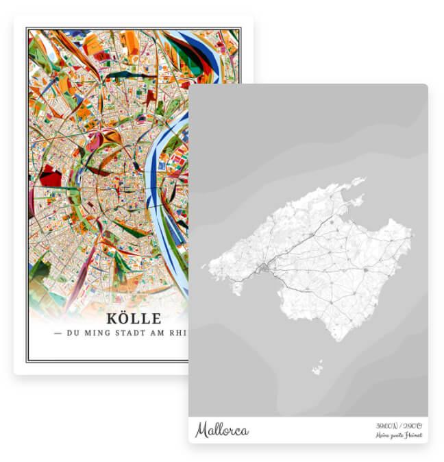 Stadtplan Köln und Landkarte Mallorca
