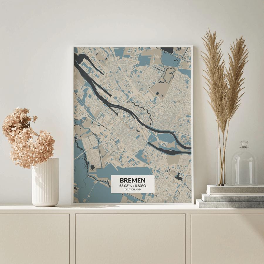 Stadtplan Bremen im Kunststil Hokusai