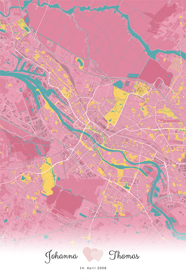 Stadtplan Bremen im Stil Hollywood - Hochzeitserinnerung, Hochzeit, Geschenk, Liebe
