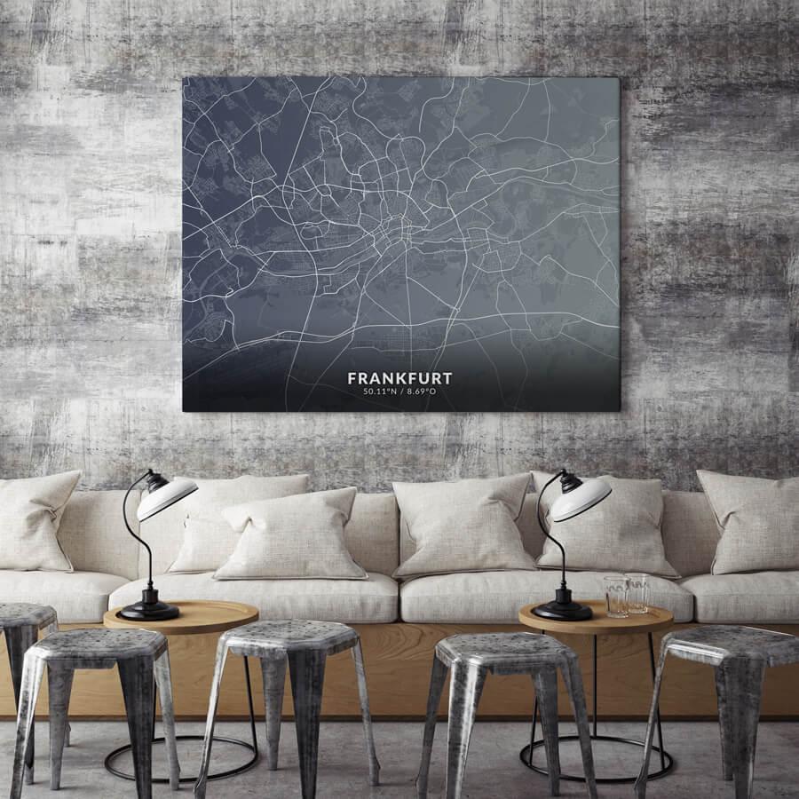 Hochwertiger Stadtplan von Frankfurt für das Büro