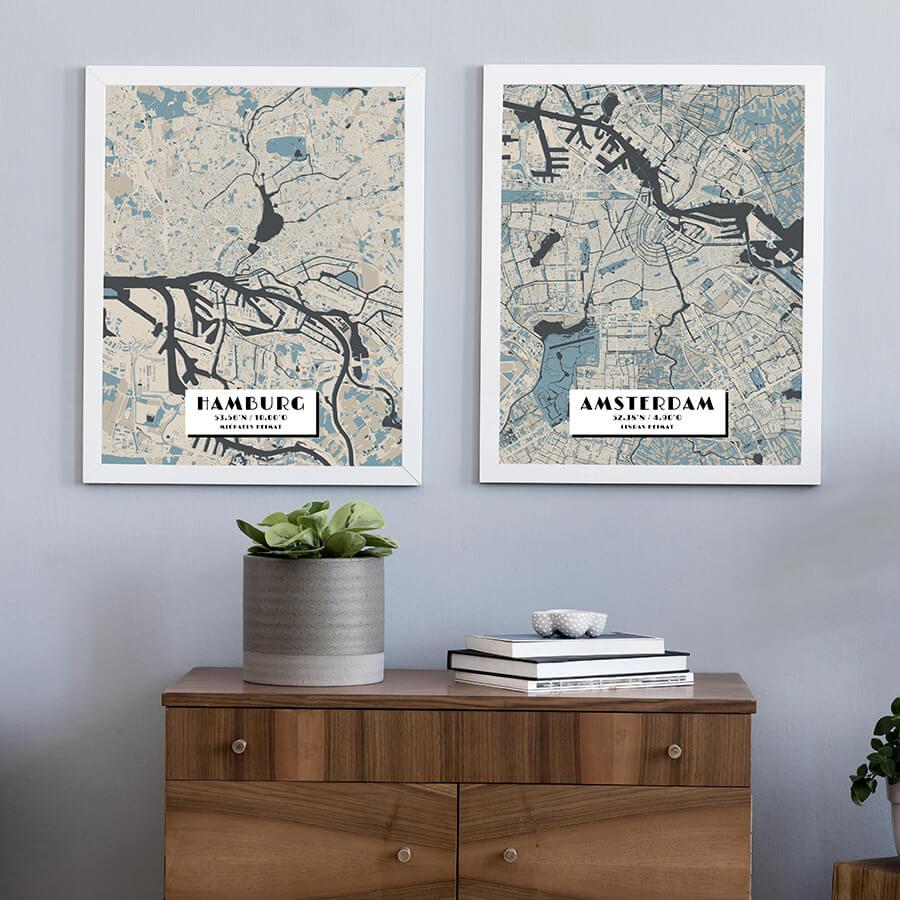 Hamburg und Amsterdam im Stil Hokusai