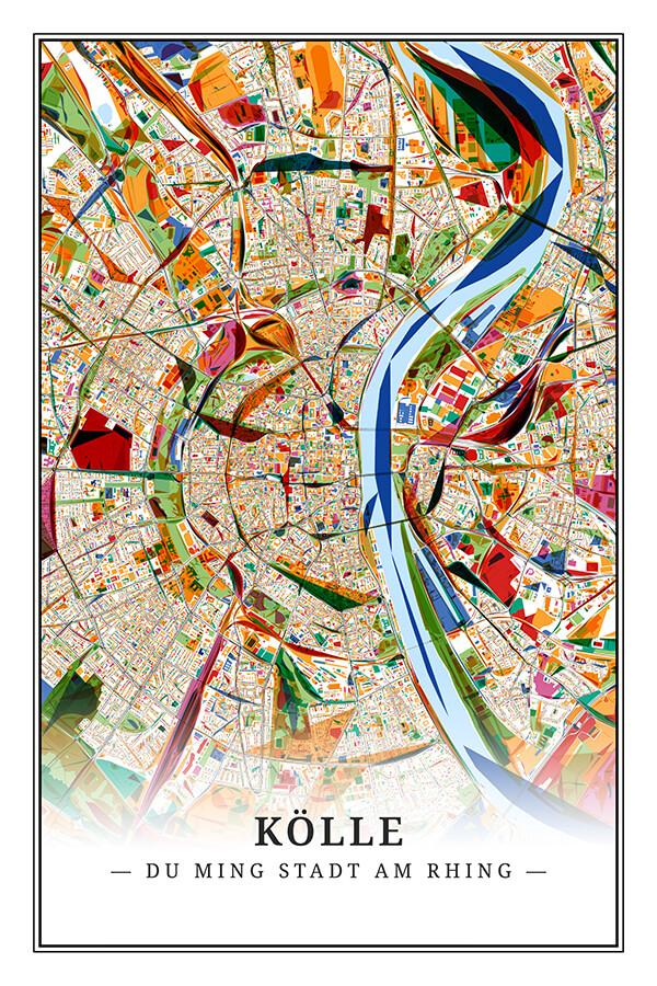Stadtplan Köln im Stil Kandinsky