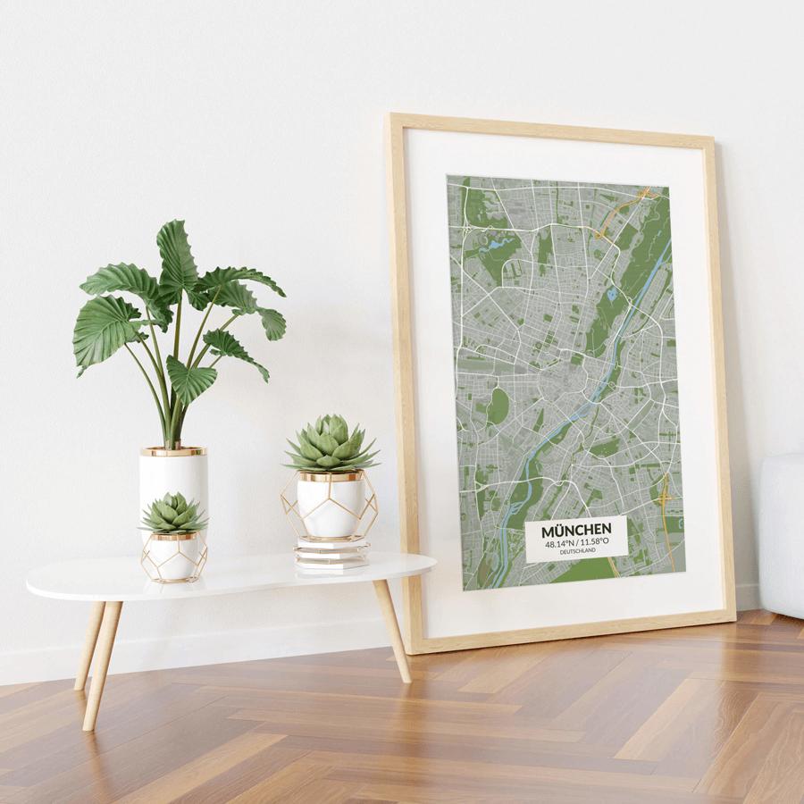 Stadtplan München im Stil Greenfield