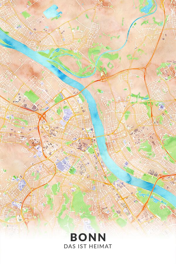 Stadtplan Bonn Heimat Wasserfarbe