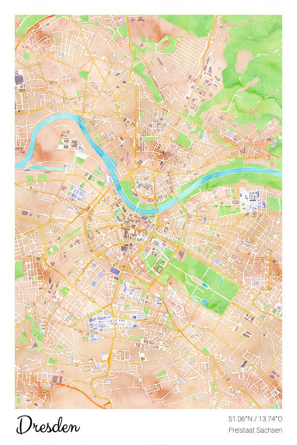 Stadtplan Dresden Freistaat Sachsen Wasserfarbe
