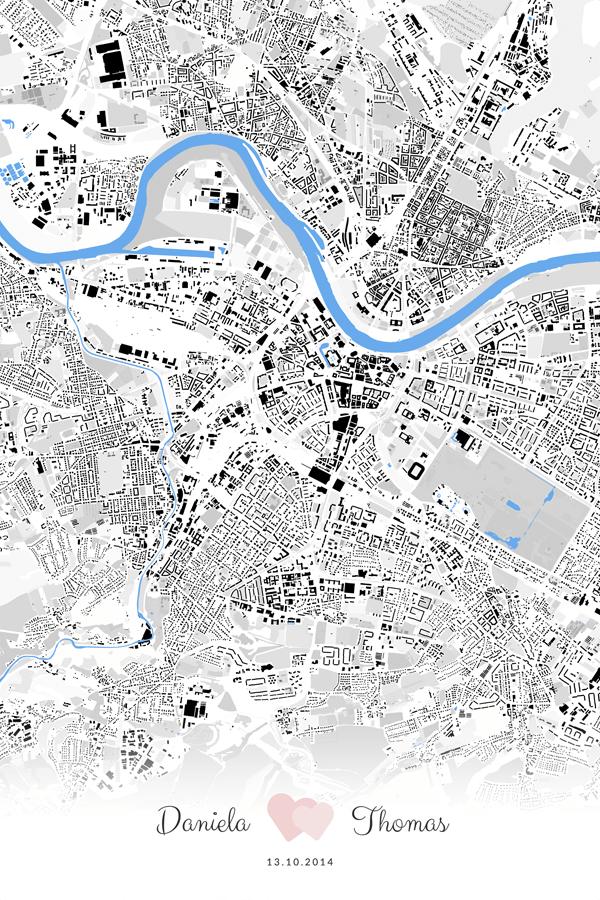 Stadtplan Dresden Liebe Hochzeit Geschenk