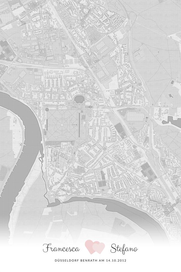 Stadtplan Düsseldorf Benrath Liebe Hochzeit