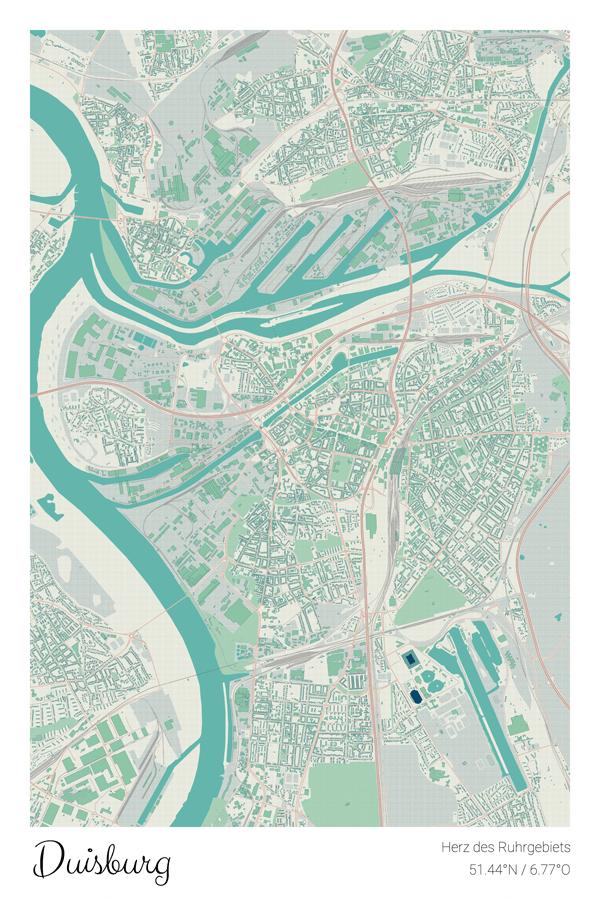 Stadtplan Duisburg im Stil Cozy - Herz des Ruhrgebiets