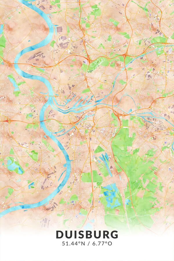 Stadtplan Duisburg Wasserfarbe