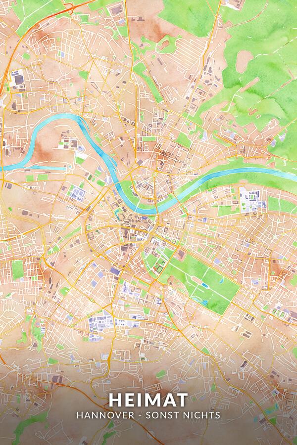 Stadtplan Hannover Kunstwerk Wasserfarbe