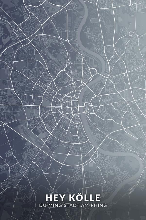 Stadtplan Köln - Hey Kölle - Du Ming Stadt am Rhing