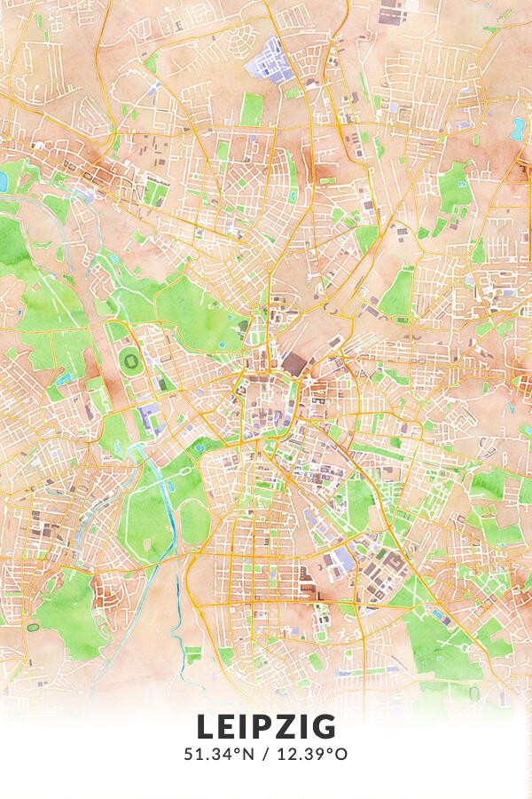 Stadtplan Leipzig in Wasserfarbe