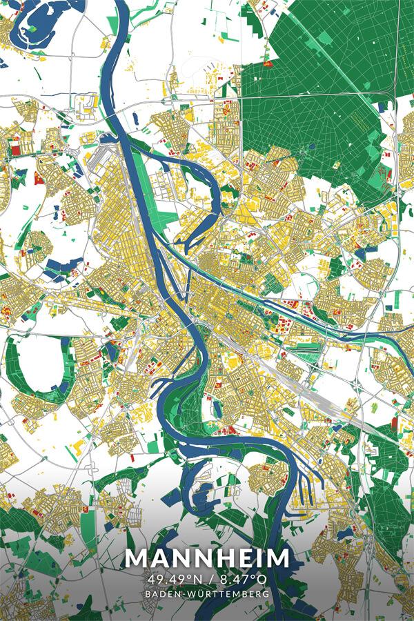 Stadtplan Mannheim Popart Roy Lichtenstein