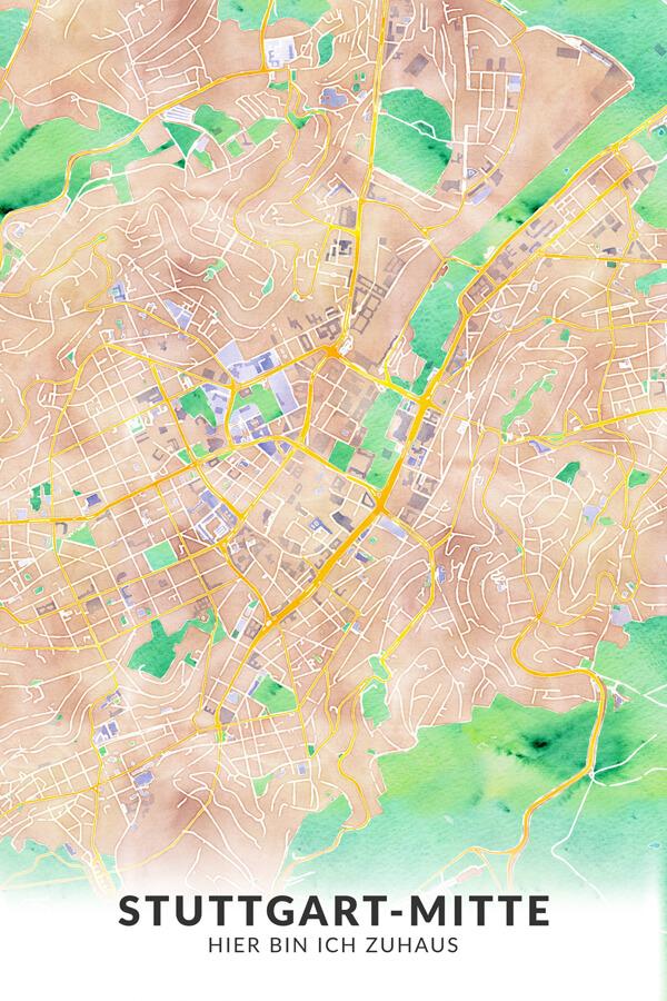 Stadtplan Stuttgart-Mitte Hier bin ich Zuhaus