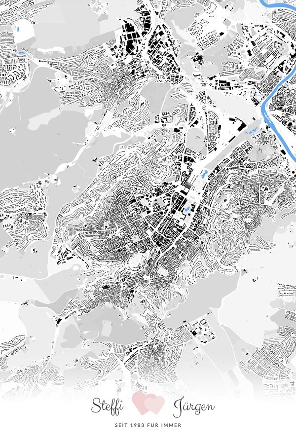 Stadtplan Stuttgart Hochzeit Liebe Geschenk