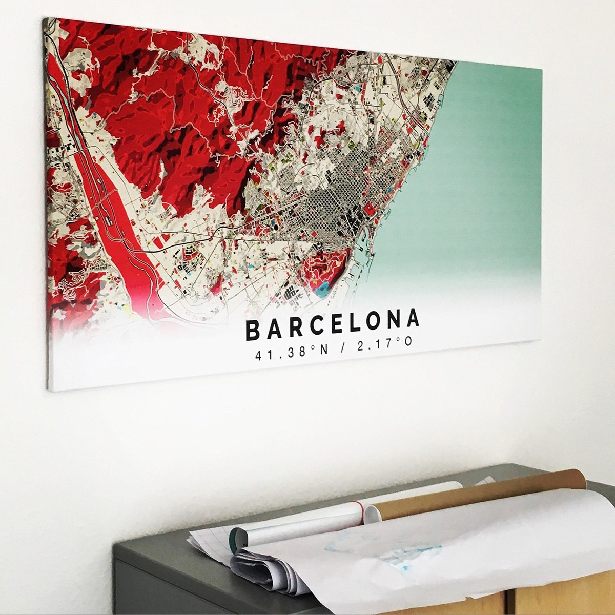Stadtplan Barcelona im Stil Popart in einem Büro