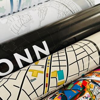Gerollte Stadtplanposter