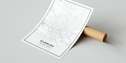 Posterrolle mit Stadtplan-Poster Hamburg