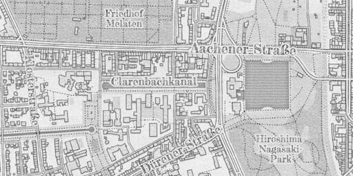 """Detailansicht Stadtplan von Köln im Stil """"Bleistift"""""""
