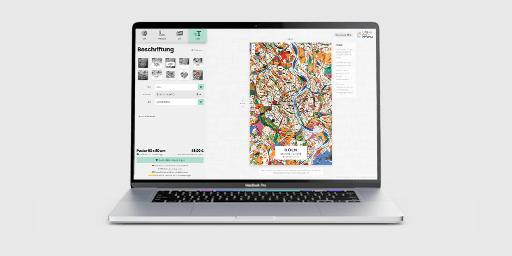 Laptop mit Stadtplan-Konfigurator