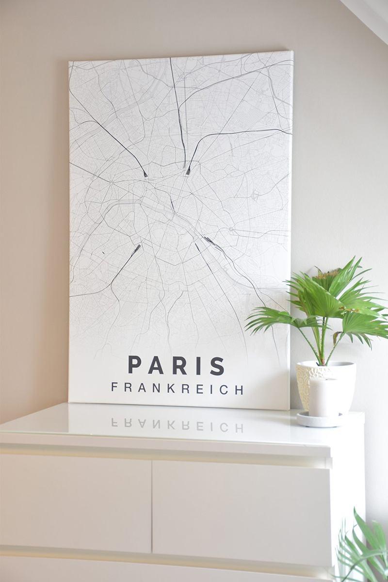 Stadtplan Elegant Leinwand Paris