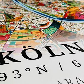 Detailansicht Stadtplanposter Köln im Stil Kandinsky